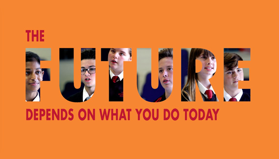 School prospectus video end frame showing the word future filled with students faces