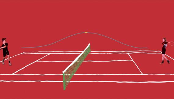 School film still showing PE students playing tennis