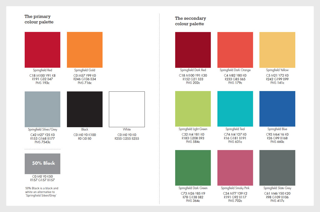Colour palette page from the brand guidelines for Springfield School - illustrating 'C is for Colours' in design for schools blog