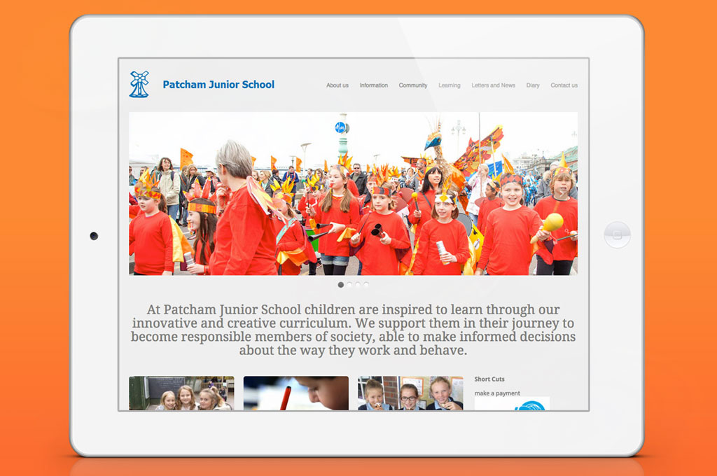 School website on iPad for Patcham Junior School - illustrating 'I is for Identity' in A to Z design for schools blog