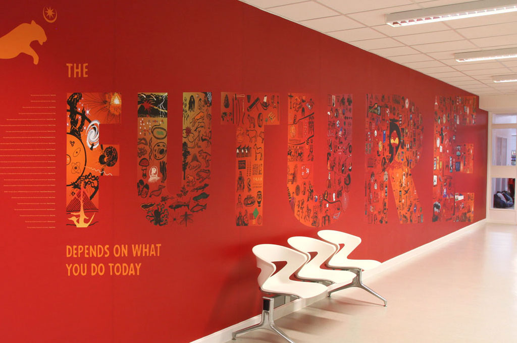 School wall mural on red wall with illustrations inside the word 'future' - illustrating 'M is for Mural' in A to Z design for schools blog