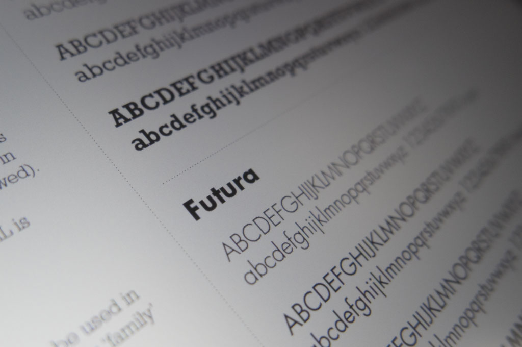 A page of typography, focusing on the typeface Futura - illustrating 'T is for Typeface' in A to Z design for schools blog