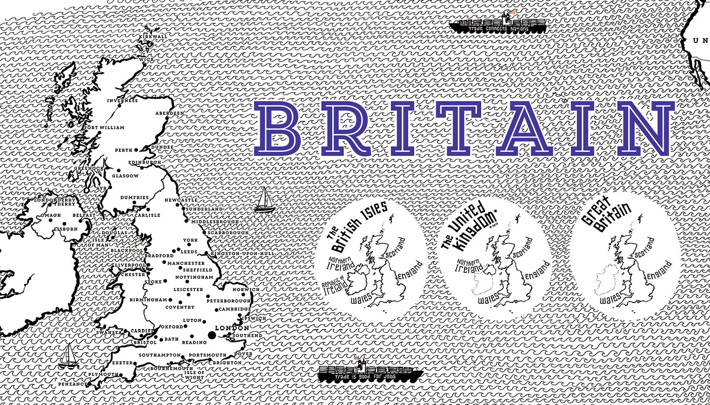 Wall graphic detail showing the difference between The British Isles, the UK and Great Britain