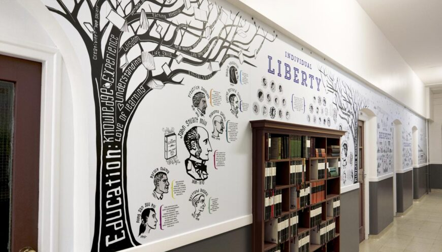 School wall graphics - British Values wall - showing Education Tree of words with a bookcase set into the wall - hand illustrated wall design by Toop Studio
