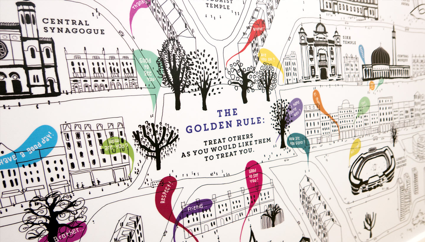 School wall graphics - British Values wall - showing Golden Rule detail - hand illustrated wall design by Toop Studio