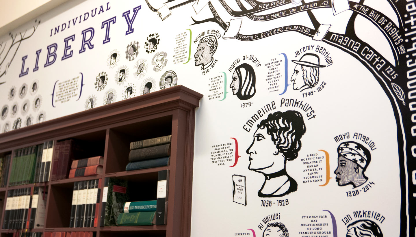 School wall graphics - British Values wall - showing Individual Liberty detail - hand illustrated wall design by Toop Studio