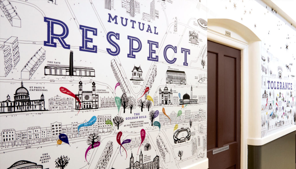 School Wall Graphics British Values Wall Showing Mutual Respect