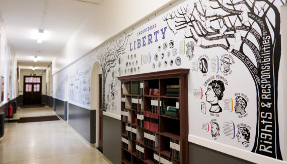 School wall graphics - British Values wall - showing Rights and Responsibilities Tree detail and a bookcase set into the wall - hand illustrated wall design by Toop Studio