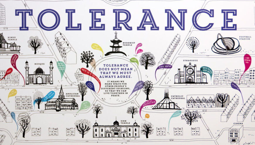 School wall graphics - British Values wall - showing Tolerance detail with a stylised townscape with speech bubbles from people being tolerant towards each other - hand illustrated wall design by Toop Studio