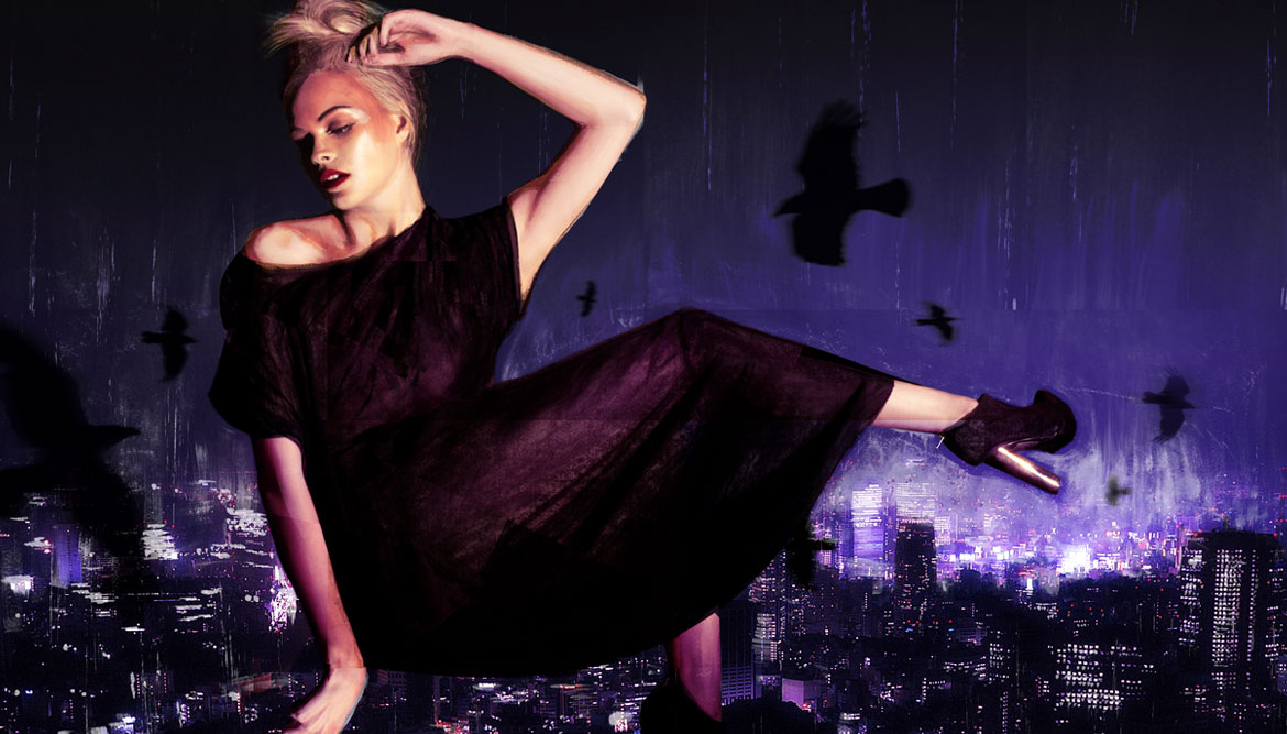Dramatic fashion illustration showing a model floating above a cityscape at night - art illustration work by Toop Studio
