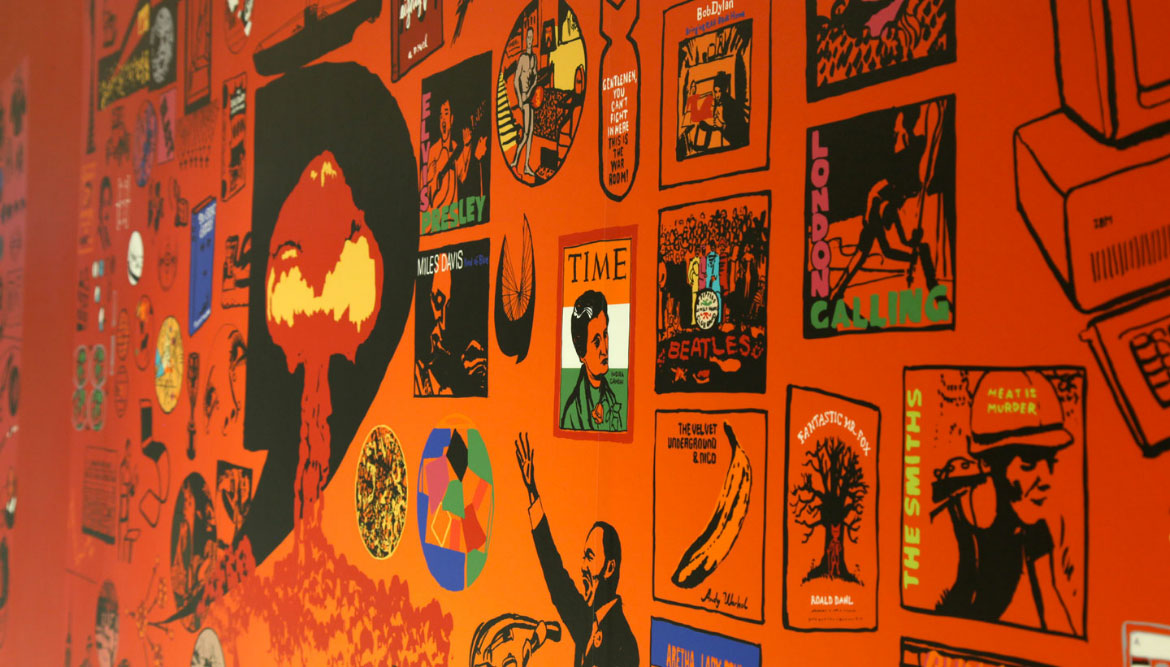 Detail of a richly coloured educational wall graphic showing cultural illustrations from the twentieth century - Toop Studio