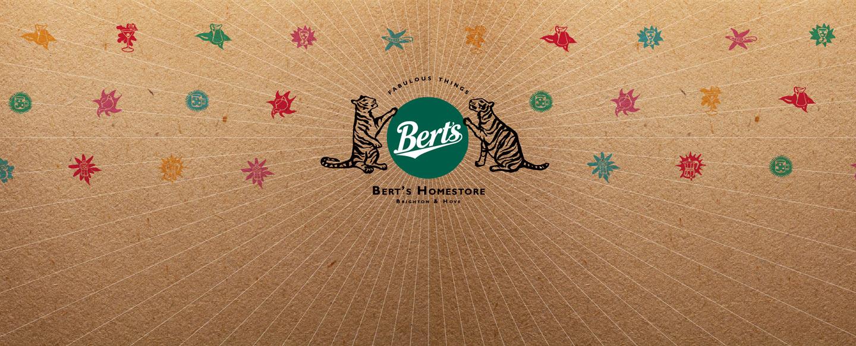 Berts Homestore - blog - brand refresh - header with Tigers and Berts logo - Toop Studio