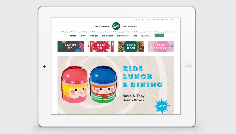 Store branding - Berts ecommerce website design home page - Toop Studio