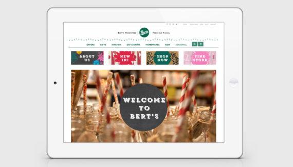 Berts ecommerce website design home page - Toop Studio