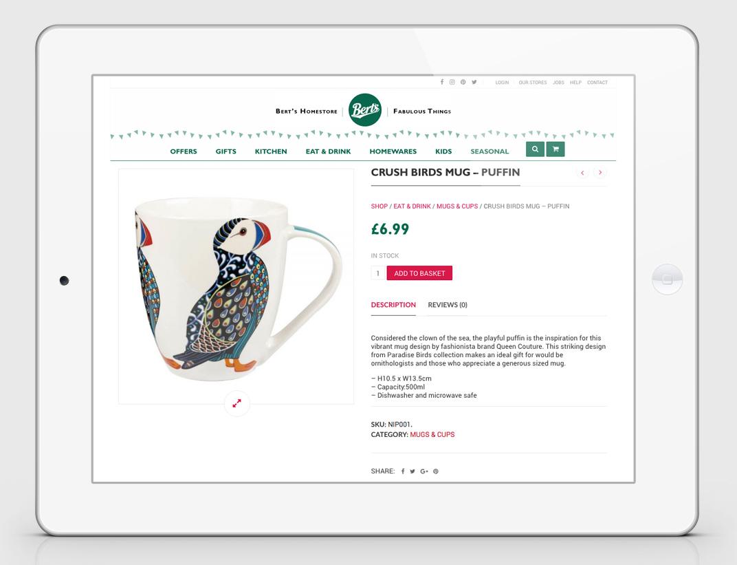 Berts ecommerce website design - product page - Berts website - Toop Studio and Mootpoint