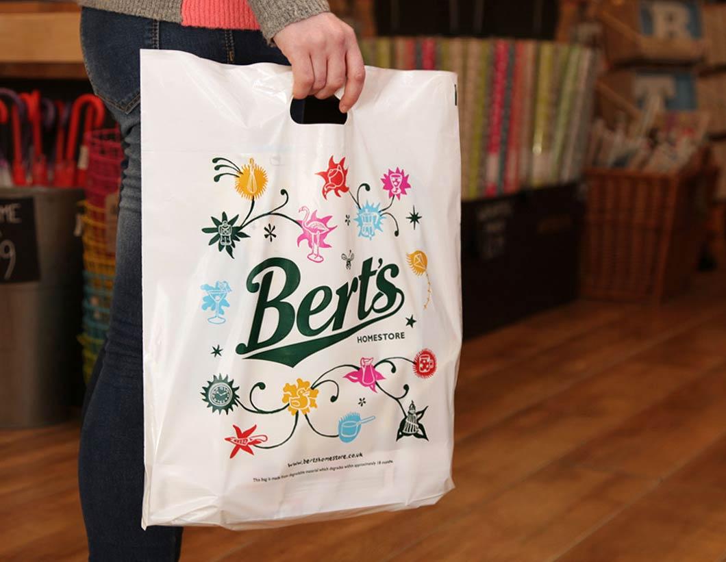 Bert's Homestore Plastic Shopping Bag - designed by Toop Studio