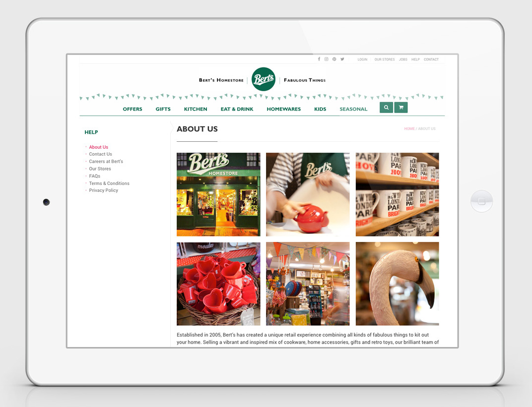 Berts ecommerce website design - about page - Berts website - Toop Studio and Mootpoint