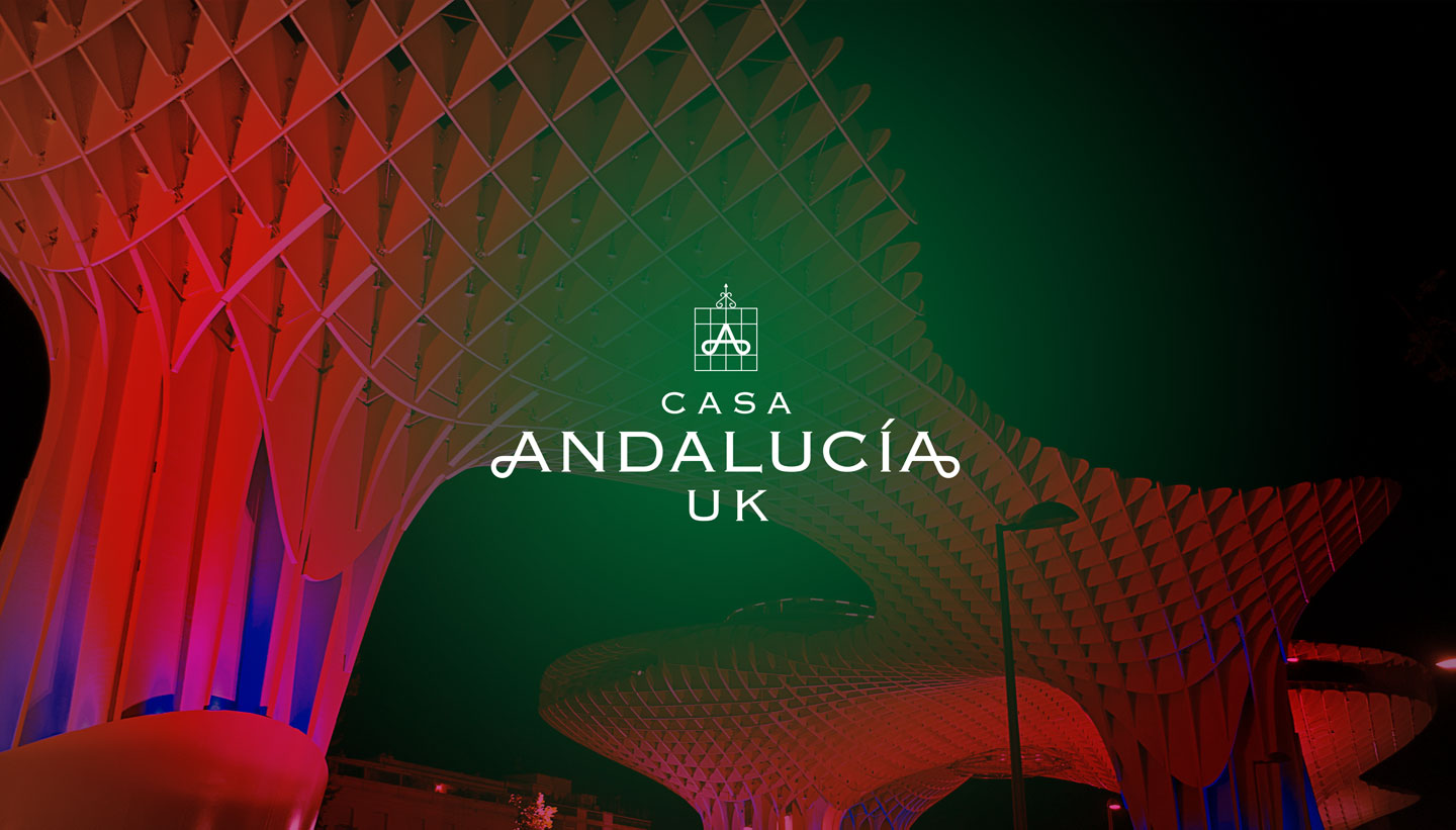 Casa Andalucia UK - logo design shown on photograph of Espacio Parasol Sevilla - - Shadric Toop - Graphic Design Brighton