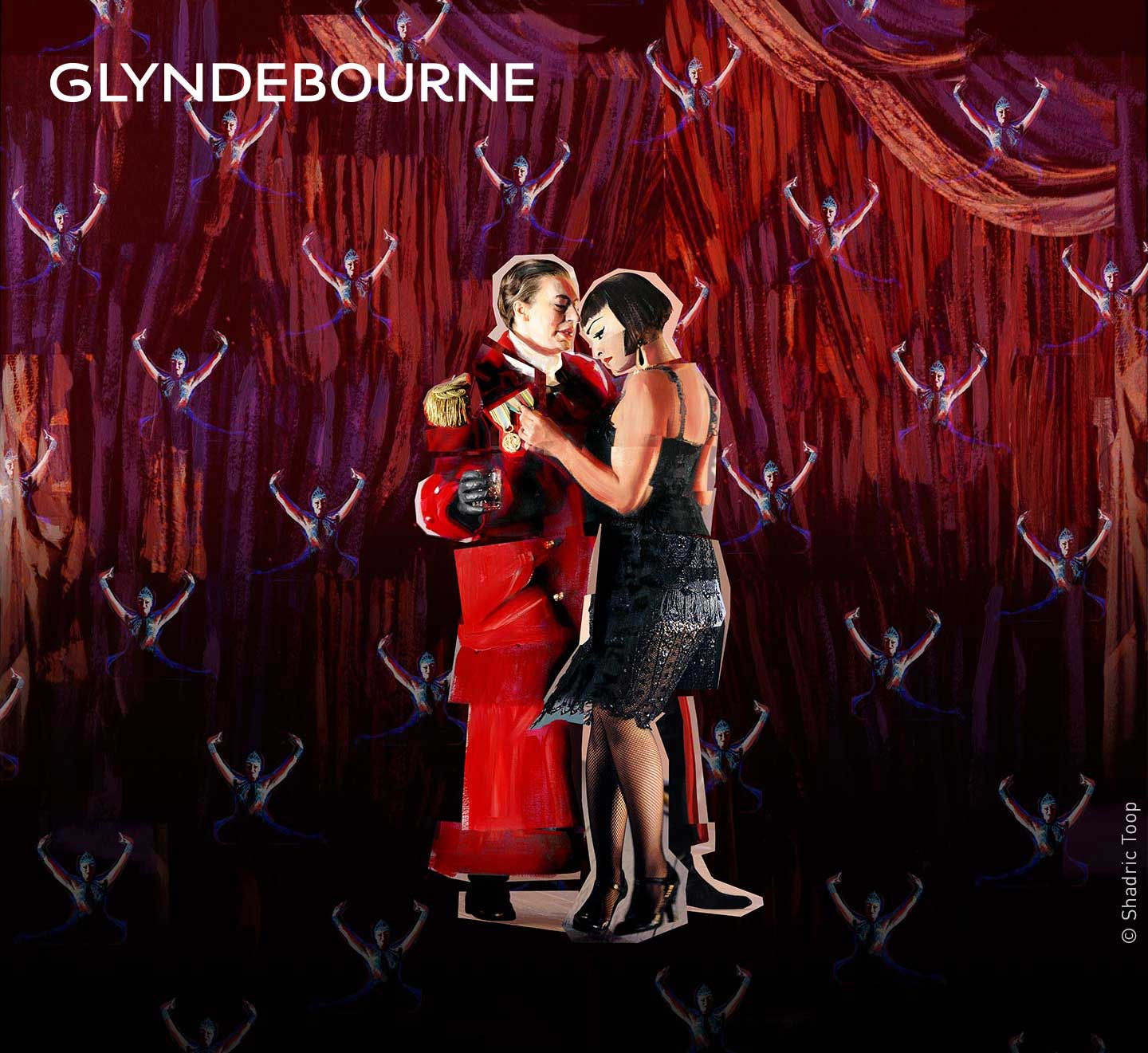 Glyndebourne Festival 2018 featuring characters from the opera Giulio Cesare - painted collage illustration by Shadric Toop