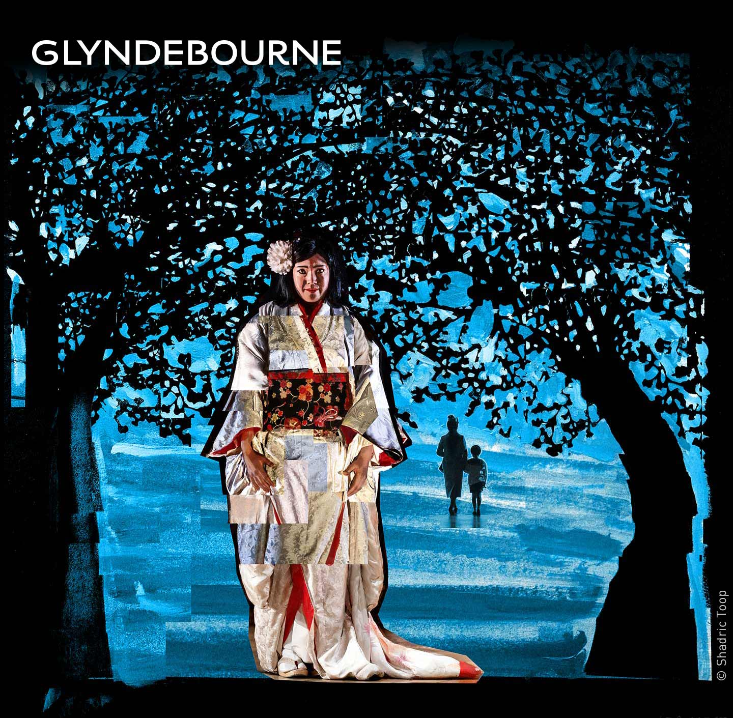 Glyndebourne Festival 2018 featuring characters from the opera Madama Butterfly - painted collage illustration by Shadric Toop