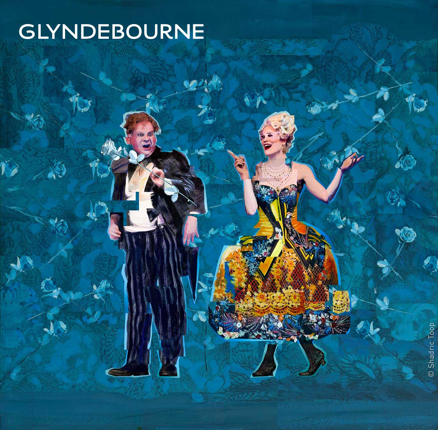 Glyndebourne Festival 2018 featuring characters from the opera Der Rosenkavalier - painted collage illustration by Shadric Toop