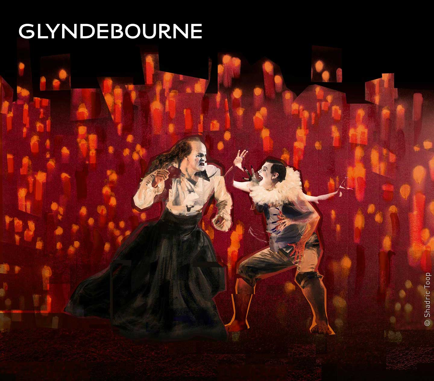 Glyndebourne Festival 2018 featuring characters from the opera Saul by George Frideric Handel - painted collage illustration by Shadric Toop