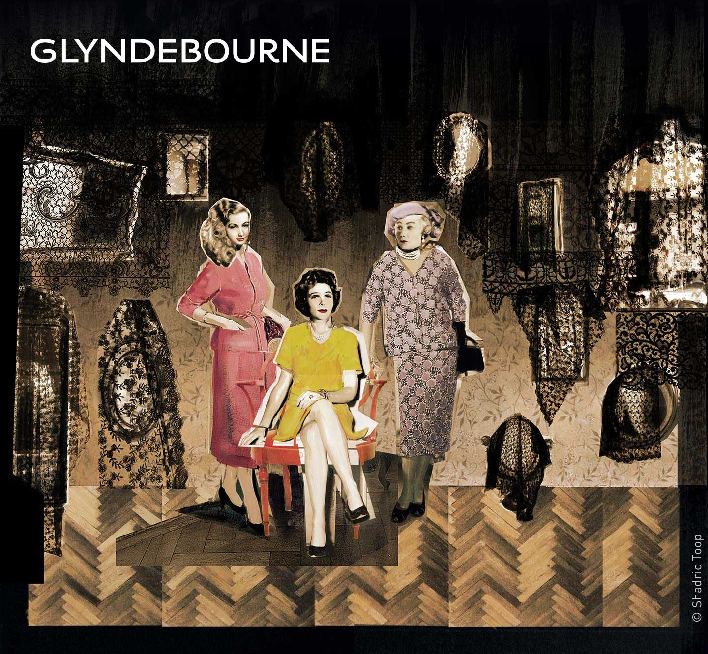 Glyndebourne Festival 2018 featuring characters from the opera Vanessa by Samuel Barber - painted collage illustration by Shadric Toop
