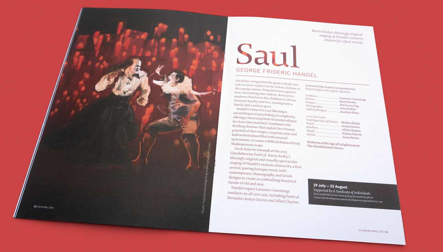 Brochure showing painted collage illustration for Glyndebourne Festival 2018 featuring a scene from Saul by Handel with the characters Saul and the High Priest in a sea of fiery candles