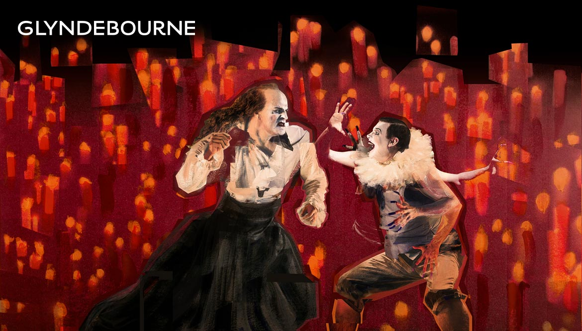 Glyndebourne Festival 2018 illustration Saul painted collage by Shadric Toop