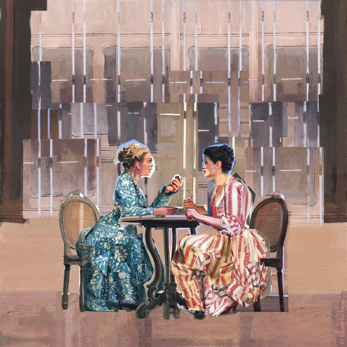 Cosi Fan Tutte showing Fiordiligi and Dorabella sitting at a table from the opera by Mozart - image used for the 2018 Glyndebourne Opera Cup - Painted Collage by Shadric Toop