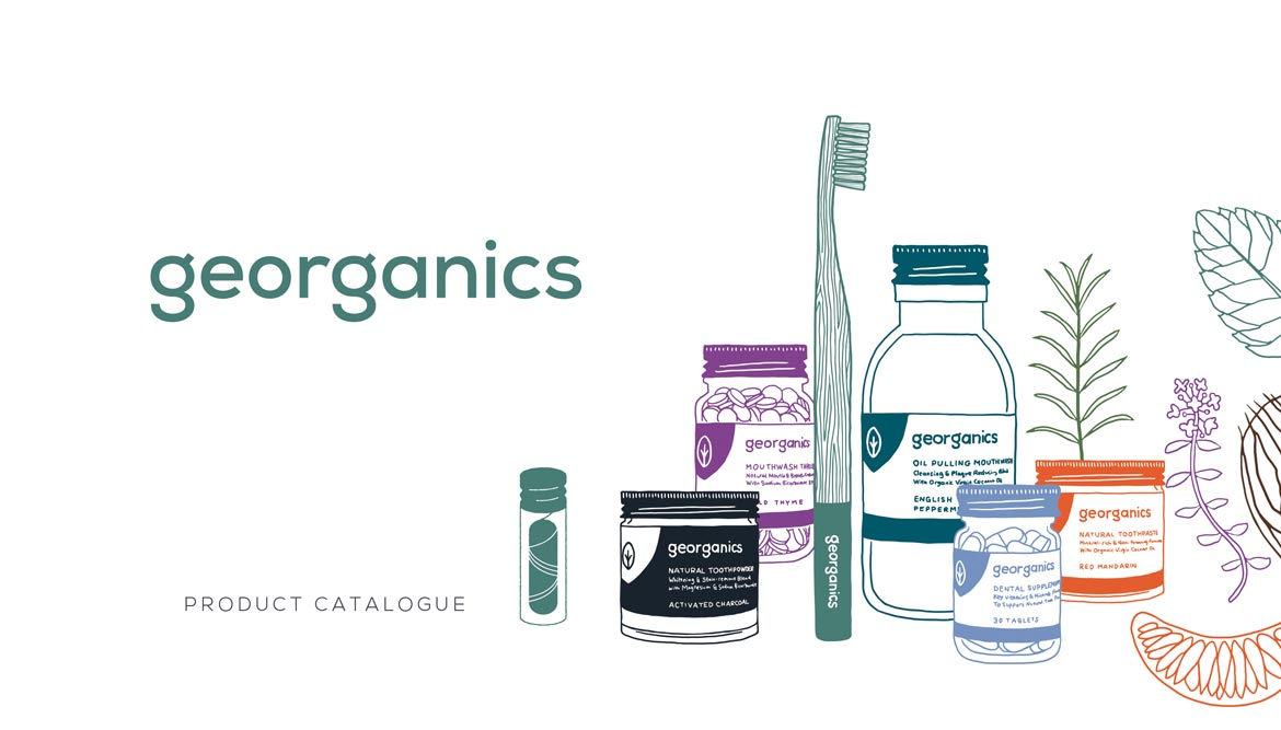 georganics catalogue design and illustration front cover showing drawings of natural toothpaste and other oral hygiene products