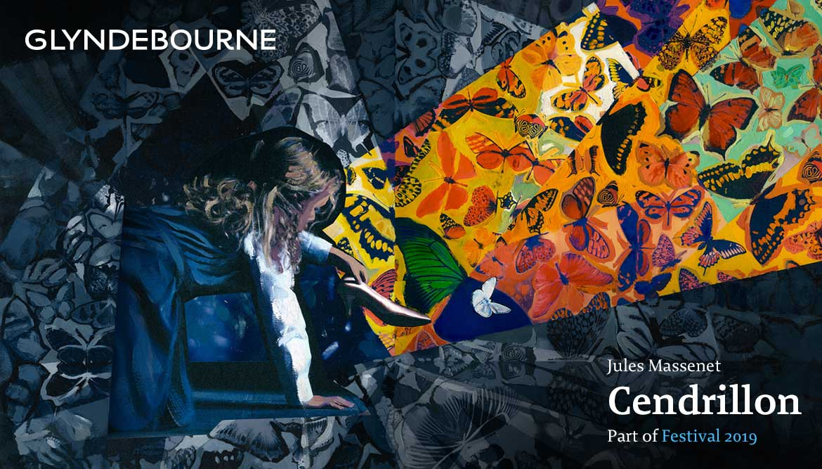 glyndebourne Festival 2019 illustration for Cendrillon painted collage of young cinderella with shoe with intricate colourful butterfly background