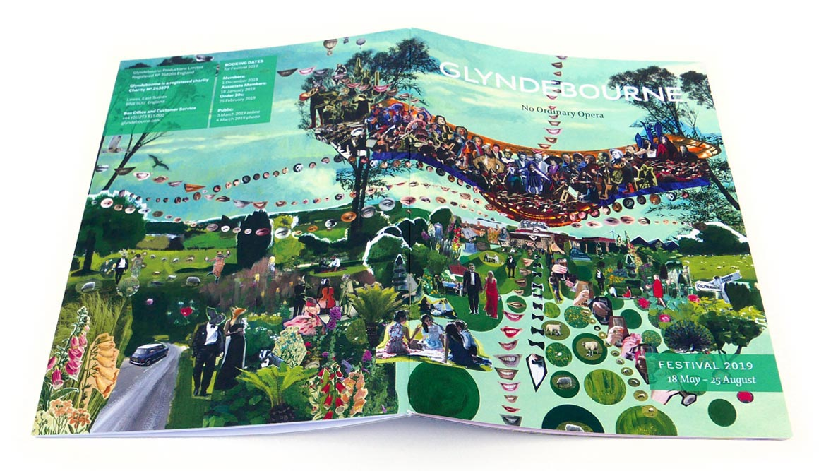 Glyndebourne Festival 2019 cover illustration showing a painted collage of the landscape around Glyndebourne