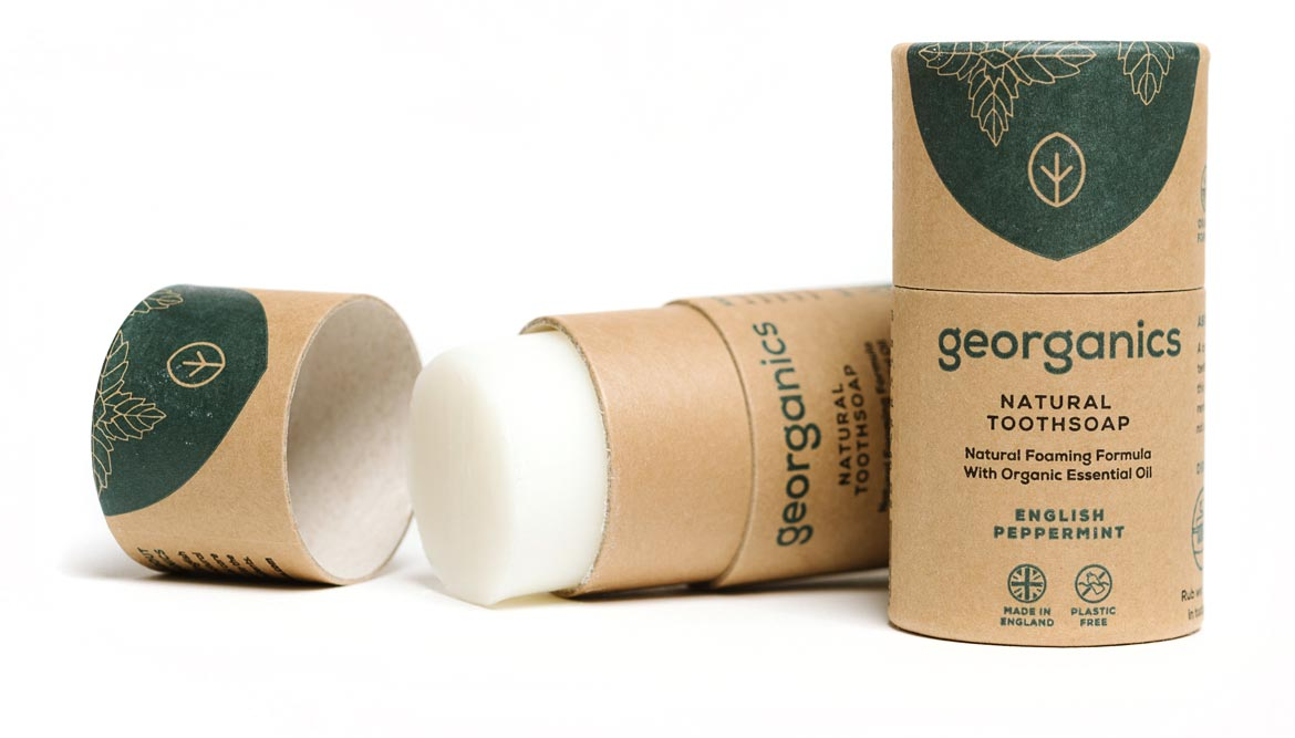 georganics toothsoap packaging design by toop studio