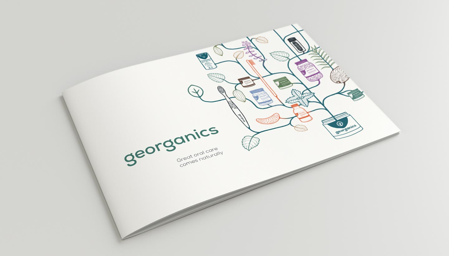Georganics catalogue cover graphic design Toop Studio