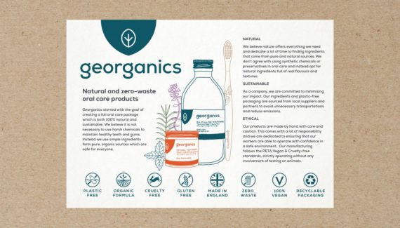 Georganics leaflet graphic design Toop Studio