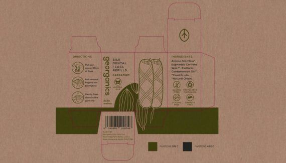 Georganics zero waste packaging Floss box visual Toop Studio