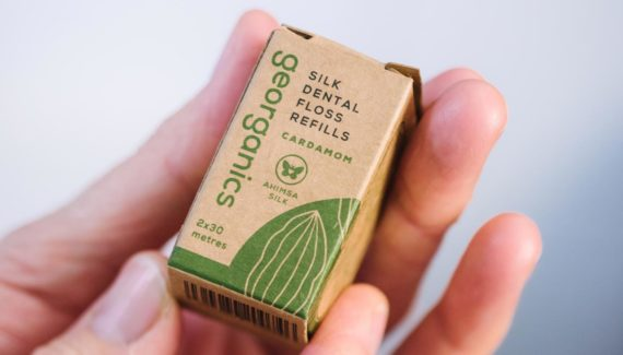 Georganics zero waste packaging cardamom floss box graphic design by Toop Studio