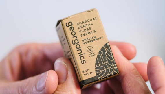 Georganics zero waste packaging floss box graphic design by Toop Studio