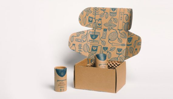 Georganics zero waste packaging mailing box graphic design by Toop Studio
