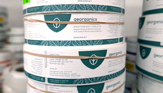 Georganics zero waste packaging mouthwash labels - graphic design by Toop Studio