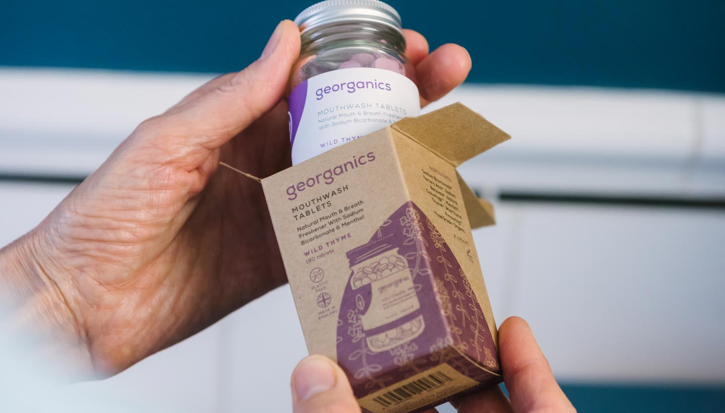 Georganics zero waste packaging wild thyme mouthwash tablets box graphic design by Toop Studio