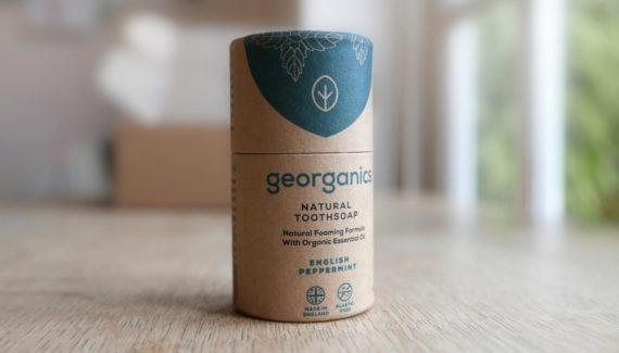 Georganics zero waste packaging toothsoap tube designed by Toop Studio