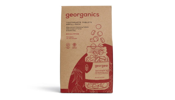 georganics zero waste packaging - toothpaste tablets graphic design shadric toop