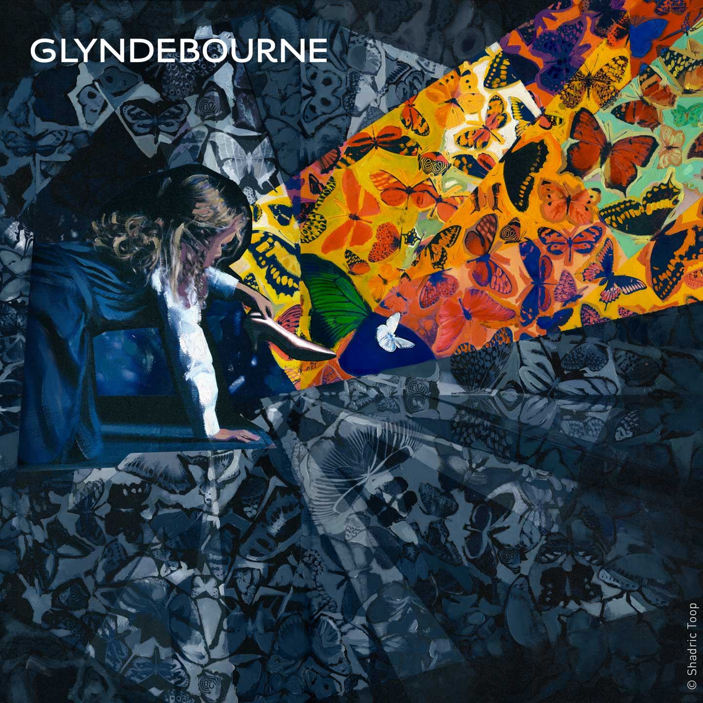Glyndebourne Festival 2019 Cendrillon illustration showing a young Cinderella amongst an abstract background of painted butterflies