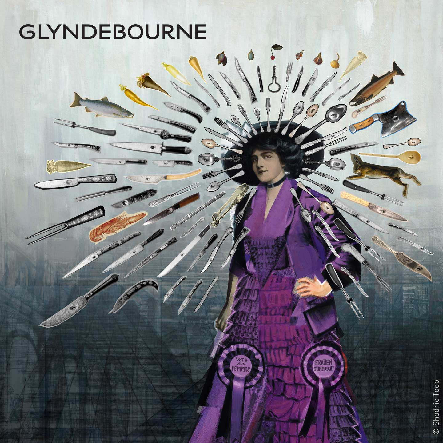 Glyndebourne Festival 2019 Die Zauberflote illustration showing the Queen of the Night character with surreal painted collage of knives spoons and food from the hotel kitchen