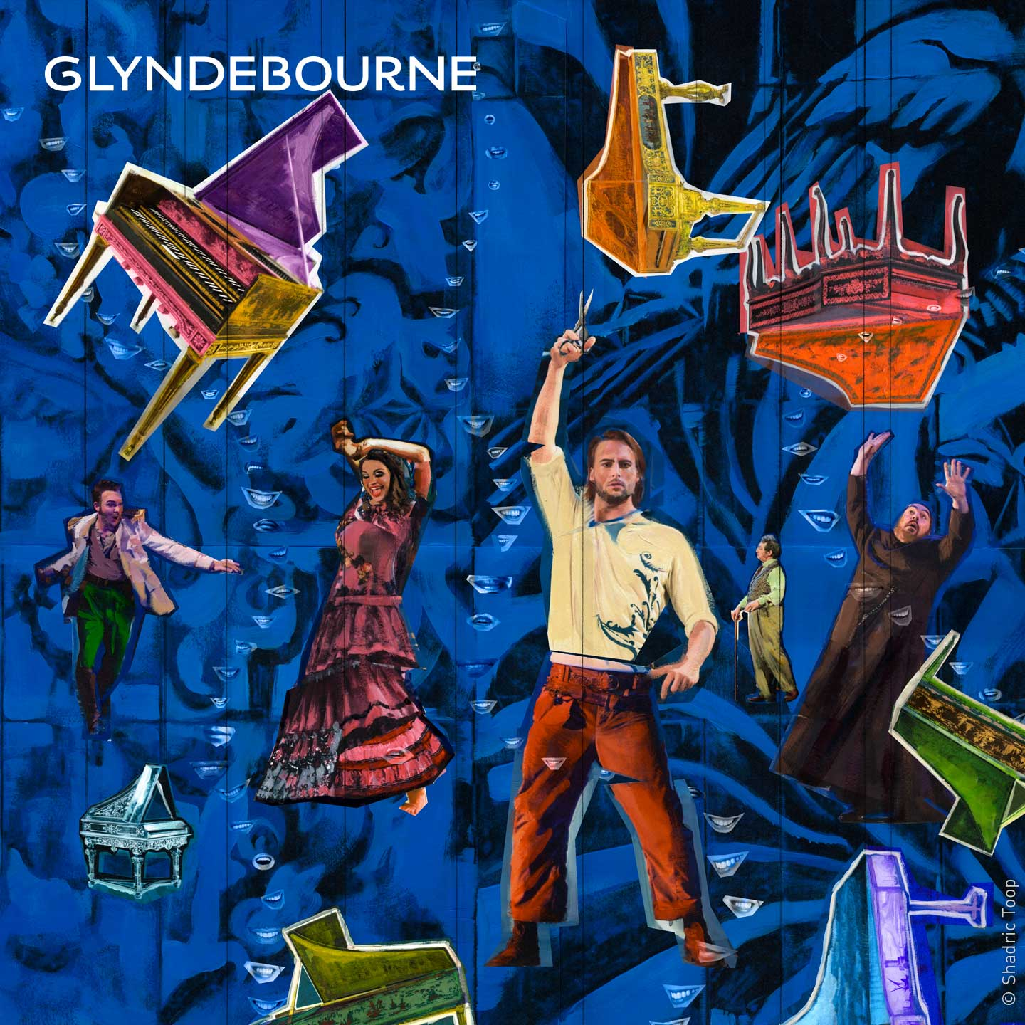 Glyndebourne Festival 2019 Il barbiere di Siviglia illustration showing characters from the opera with harpsichords