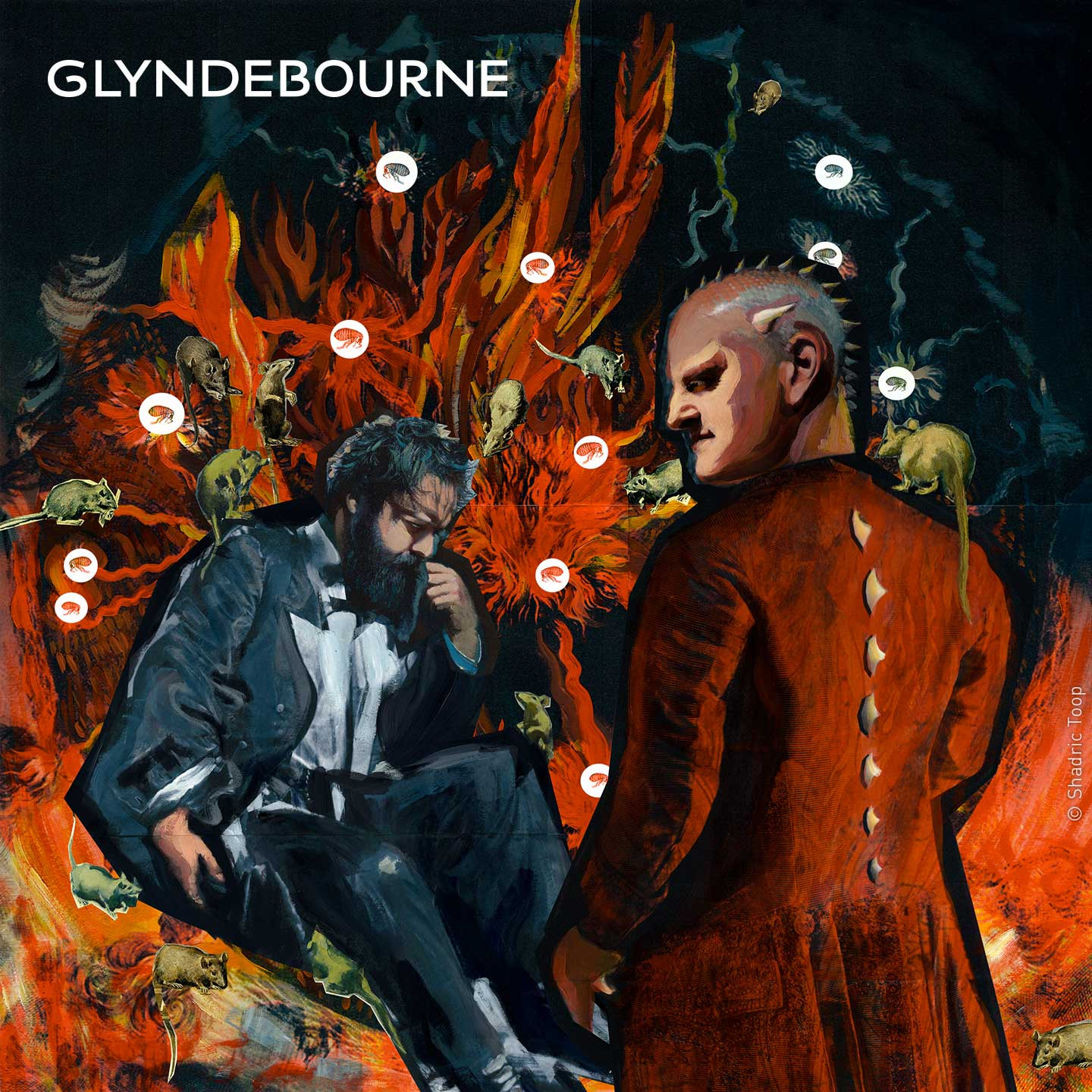 Glyndebourne Festival 2019 La damnation de Faust illustration painted collage showing Faust and the devil with fire and rats