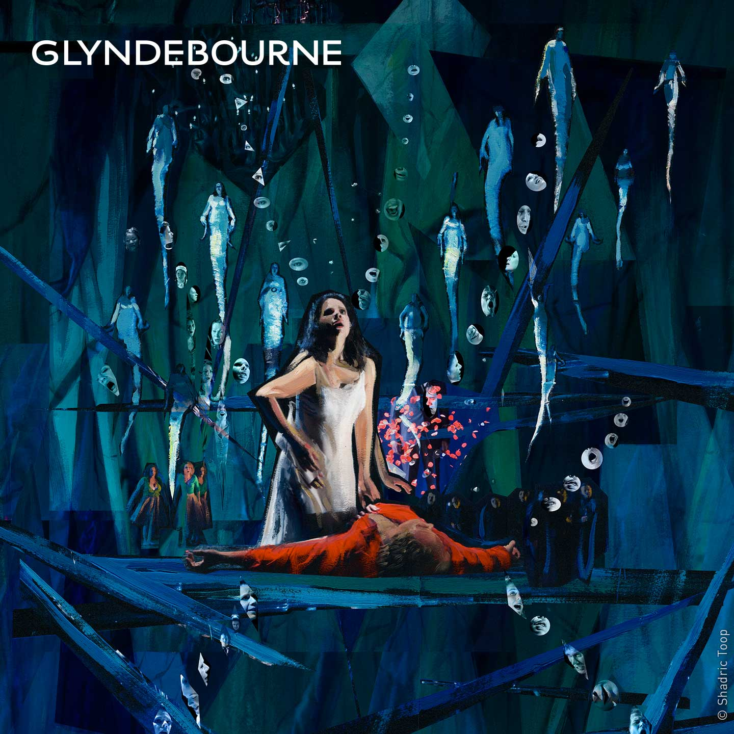 Glyndebourne Festival 2019 Rusalka illustration showing the main characters of the opera within a surreal blue green world with water nymphs