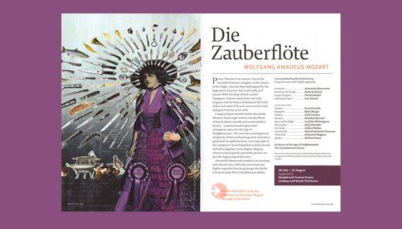Glyndebourne Festival 2019 brochure Die Zauberflöte spread illustration Shadric Toop
